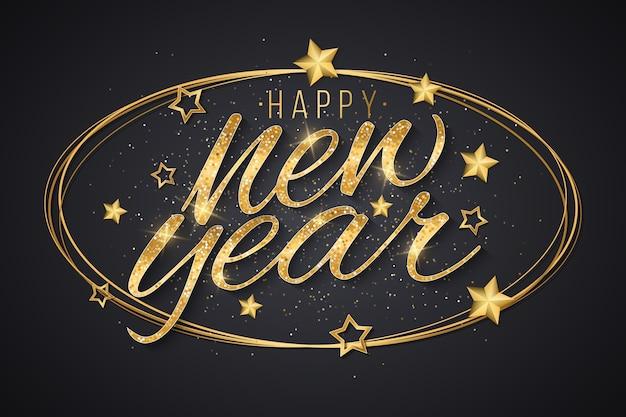 Letras brilhantes de ano novo dourado com decorações de estrelas douradas no quadro em um fundo escuro.