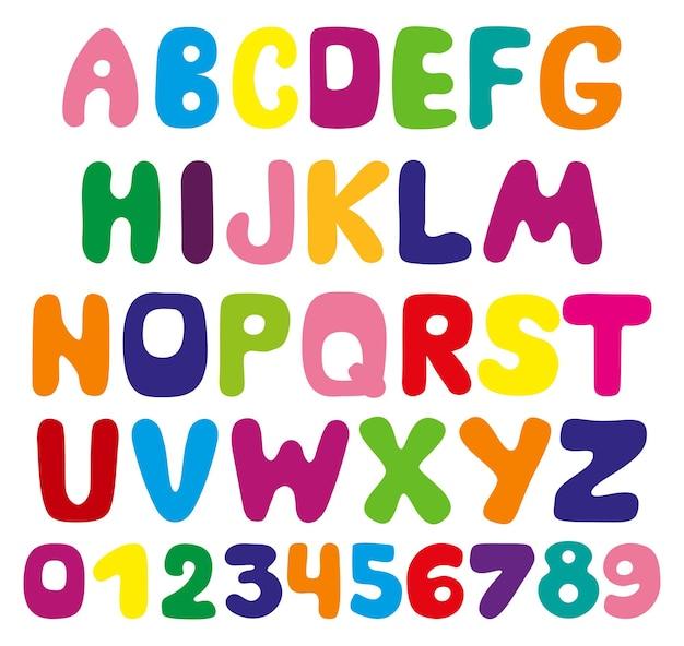 Letras brilhantes do alfabeto e números para crianças. fonte criativa de vetor original para manchetes, sinalização, cartazes, educação e decoração de um quarto infantil.