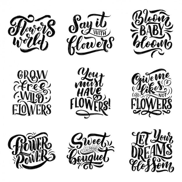 Letras citações sobre flores, ilustração feita dentro