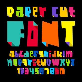 Letras coloridas, cortadas de papel dobradas