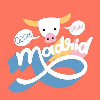 Letras coloridas da cidade de madrid