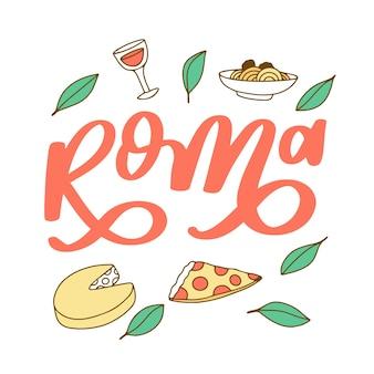 Letras coloridas da cidade de roma