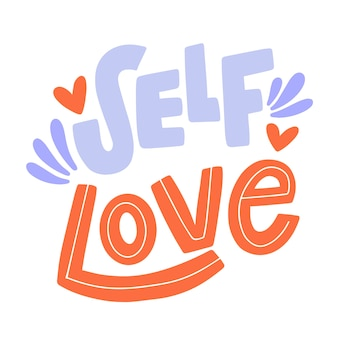 Letras coloridas de amor próprio