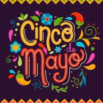 Letras coloridas de cinco de maio