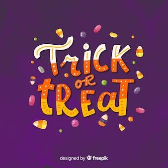 Letras coloridas de doces ou travessuras
