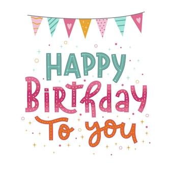Letras coloridas de feliz aniversário com guirlandas
