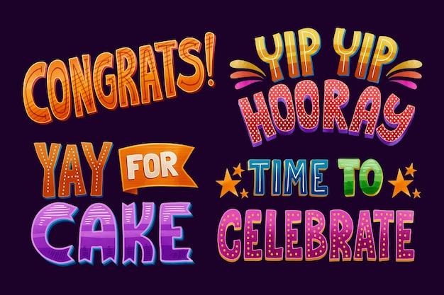 Letras coloridas de parabéns