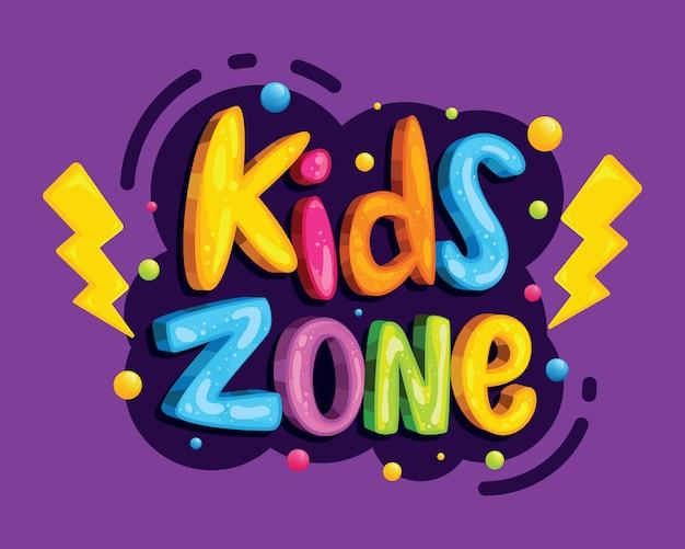 Letras coloridas de zona de crianças
