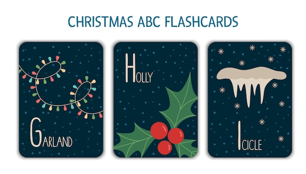Letras coloridas do alfabeto g, h, i. flashcard da phonics. cartões abc temáticos de natal fofos para o ensino de leitura com guirlanda engraçada, azevinho, pingente de gelo. atividade festiva de ano novo.