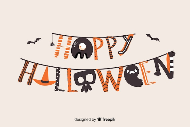 Letras coloridas feliz dia das bruxas