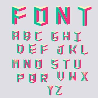 Letras coloridas no estilo dos anos 80.