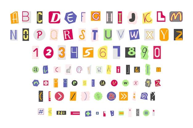 Letras coloridas, números e sinais de pontuação