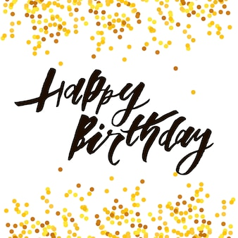 Letras com frase feliz aniversário. ilustração vetorial ouro