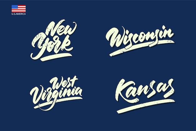 Letras com um pincel largo. inscrições dos estados da américa. ilustração vetorial