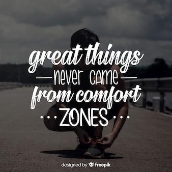 Letras com uma citação motivacional