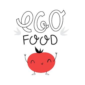 Letras: comida ecológica. maçã vermelha e letras. ilustração vetorial