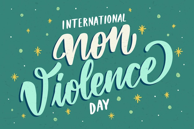 Letras criativas do dia internacional da não-violência