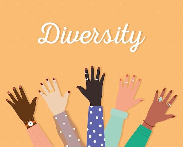 Letras da diversidade e conjunto de braços com uma mão e unhas coloridas em um fundo laranja