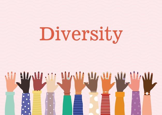 Letras da diversidade e conjunto de braços com uma mão e unhas coloridas em um fundo rosa