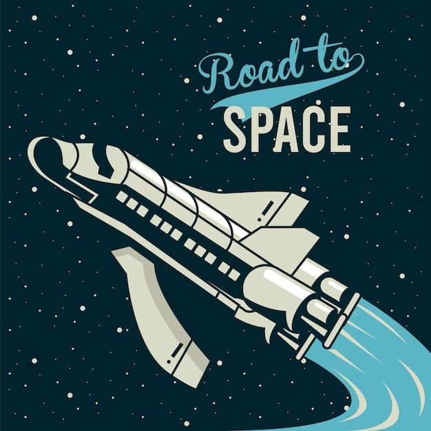 Letras da estrada para o espaço com nave espacial voando em pôster estilo vintage.
