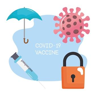 Letras da vacina covid19 com ilustração de quatro ícones