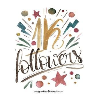 Letras de 1k de seguidores de aquarela