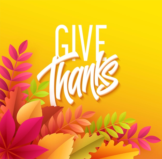 Letras de ação de graças feliz com folha de outono de papel. ilustração vetorial eps10
