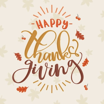 Letras de ação de graças feliz com folhas