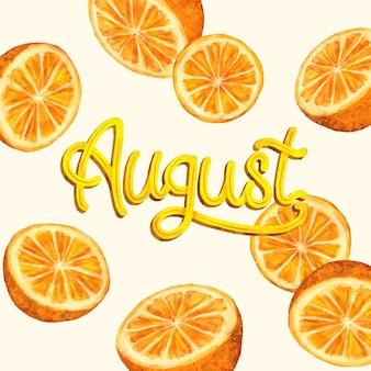 Letras de agosto em aquarela pintadas à mão com frutas