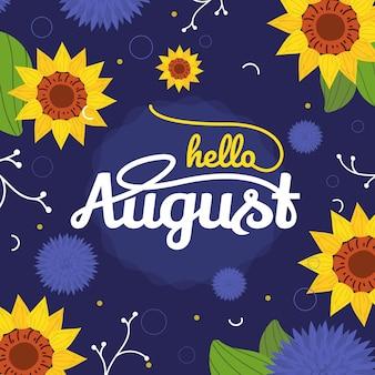 Letras de agosto florais desenhadas à mão