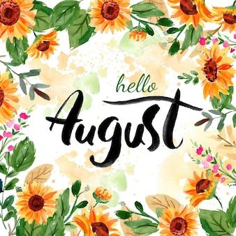 Letras de agosto floral pintadas à mão