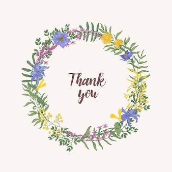 Letras de agradecimento escritas com fonte cursiva dentro de moldura decorativa floral redonda ou grinalda