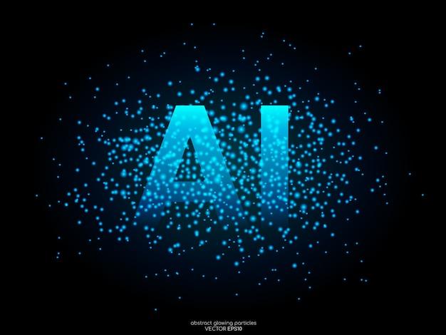 Letras de ai com partículas de ponto de luz azul no preto. conceito de tecnologia ai.