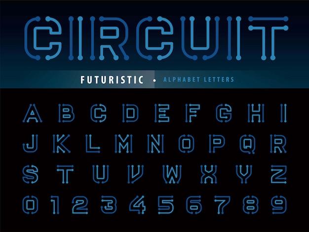 Letras de alfabeto de circuito