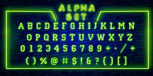 Letras de alfabeto de néon brilhante