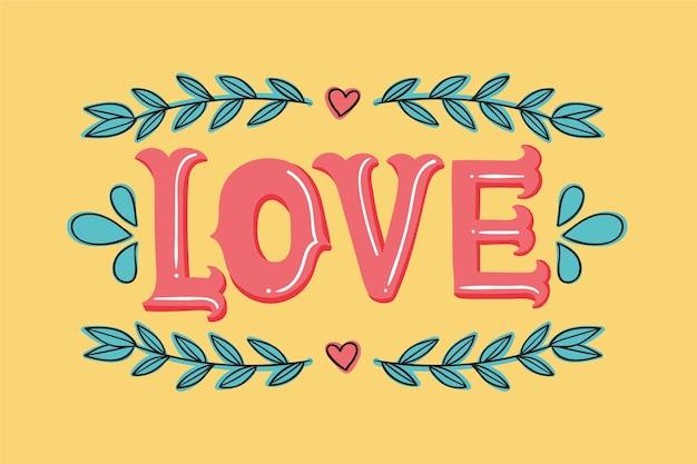 Letras de amor com corações e folhas