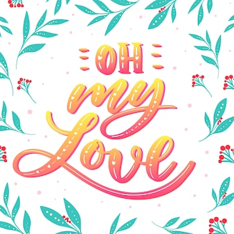 Letras de amor com design gradiente e folhas