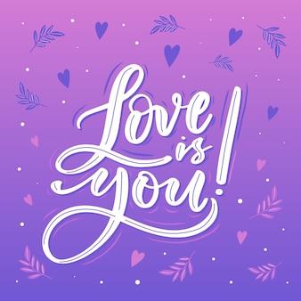 Letras de amor com design gradiente