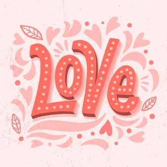 Letras de amor com folhas e silhuetas