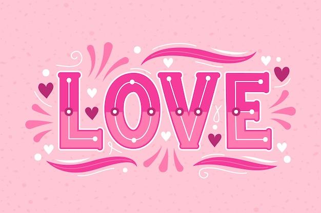 Letras de amor em design de estilo vintage