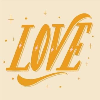 Letras de amor em design itálico