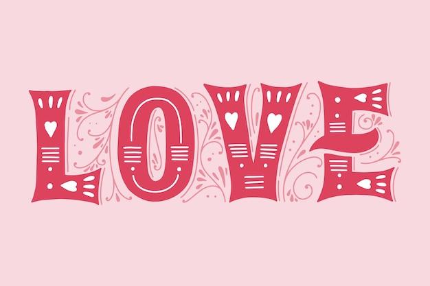 Letras de amor no conceito de estilo vintage