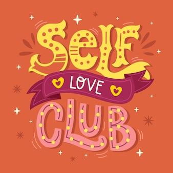 Letras de amor próprio em design criativo