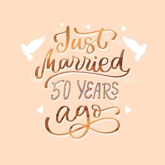 Letras de aniversário de casamento dourado desenhadas à mão