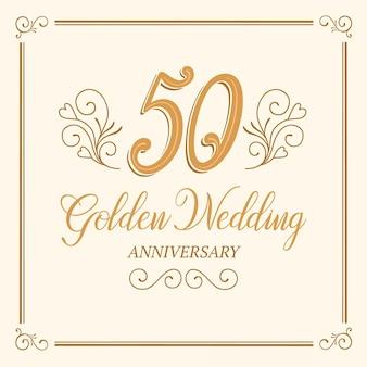 Letras de aniversário de casamento dourado desenhadas à mão Vetor Premium