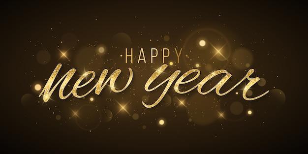 Letras de ano novo dourado decoradas com luzes abstratas bokeh e estrelas em um fundo escuro.