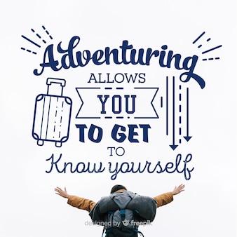 Letras de aventura com fundo da foto