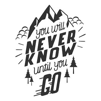 Letras de aventura com montanhas