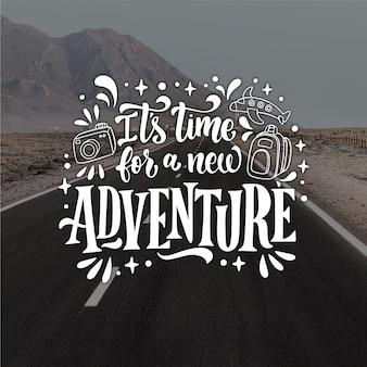 Letras de aventura desenhadas à mão com foto