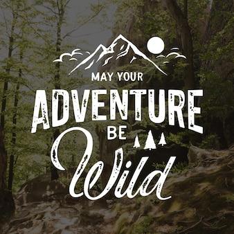 Letras de aventura desenhadas à mão com foto Vetor Premium